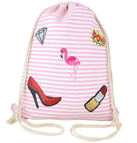 "Patch Backpack ""Flamingo"" Gymbag Sportsbag"