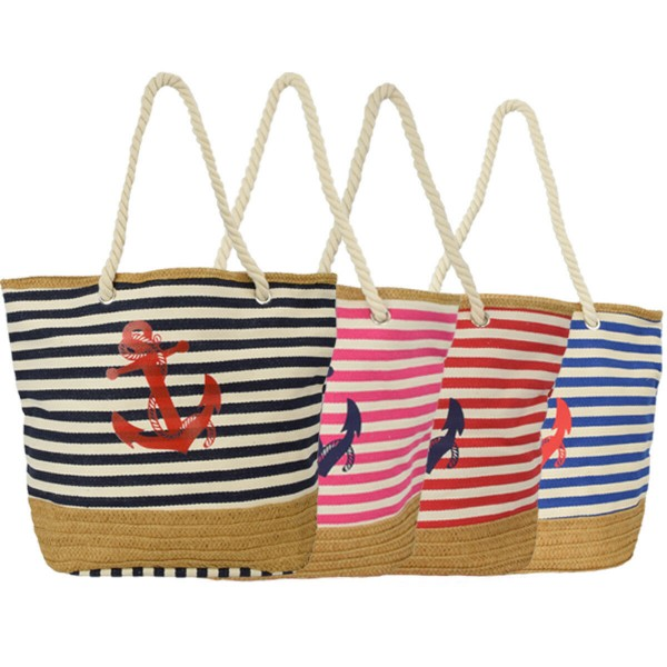 Aktionssortiment: 10 Strandtaschen Anker mit Bast