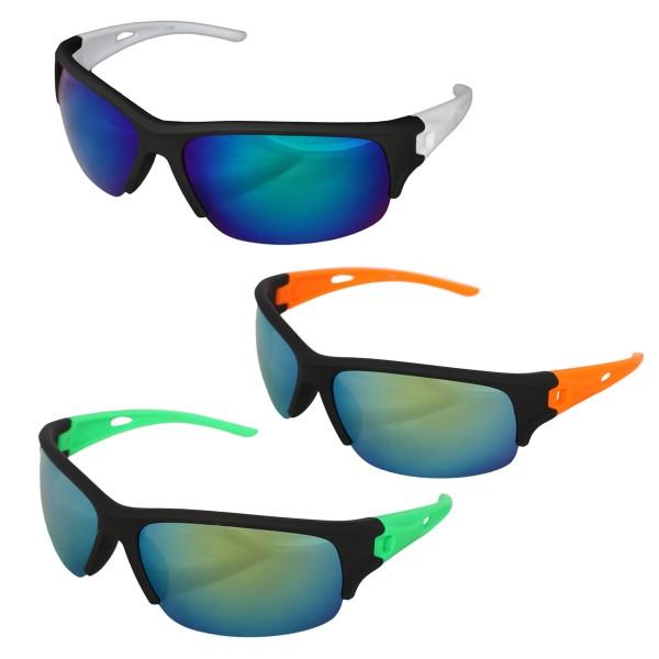 Aktionssortiment: 12 Sonnenbrillen Sonne Biker Verspiegelt Fahrrad