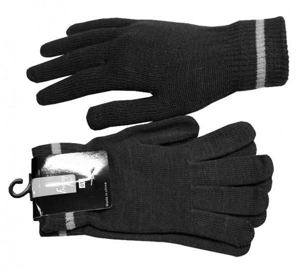 Sortiment 12 Paar Strickhandschuhe Finger Streifen Uni Winter Unisex